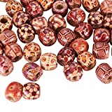 Pandahall 50-piece Assorted Round Wood Beads Large Hole Beads Barrel Wooden Beads for Jewelry Making Bracelet Loose Spacer Charms