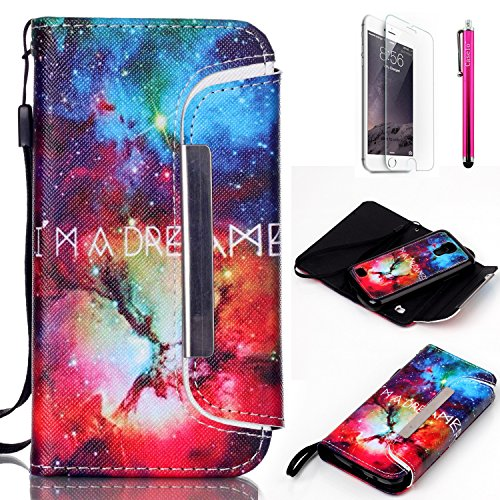 S4 Mini Case, JCmax [Detachable Design] Flip Detachable PU Leather Wallet Case Protector With Card Slots, Magnetic Closure and Wrist Strap For Samsung Galaxy S4 Mini i9190 [Starry Sky]