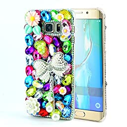 Samsung Galaxy Note 5 Case, Sense-TE Luxurious Crystal 3D Handmade Sparkle Glitter Diamond Rhinestone Ultra-Thin Clear Cover with Retro Bowknot Anti Dust Plug - Butterfly Flowers / Colorful