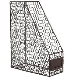 Rustic Brown Metal Wire Magazine, Office Document, File Holder Shelf Organizer Basket w/ Chalkboard Label
