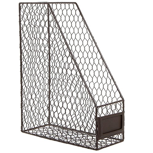 Rustic Brown Metal Wire Magazine, Office Document, File Holder Shelf Organizer Basket w/ Chalkboard Label
