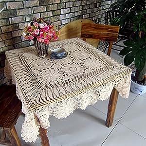Ustide Modern European Style Hand Crochet Table Cloth Table Overlays