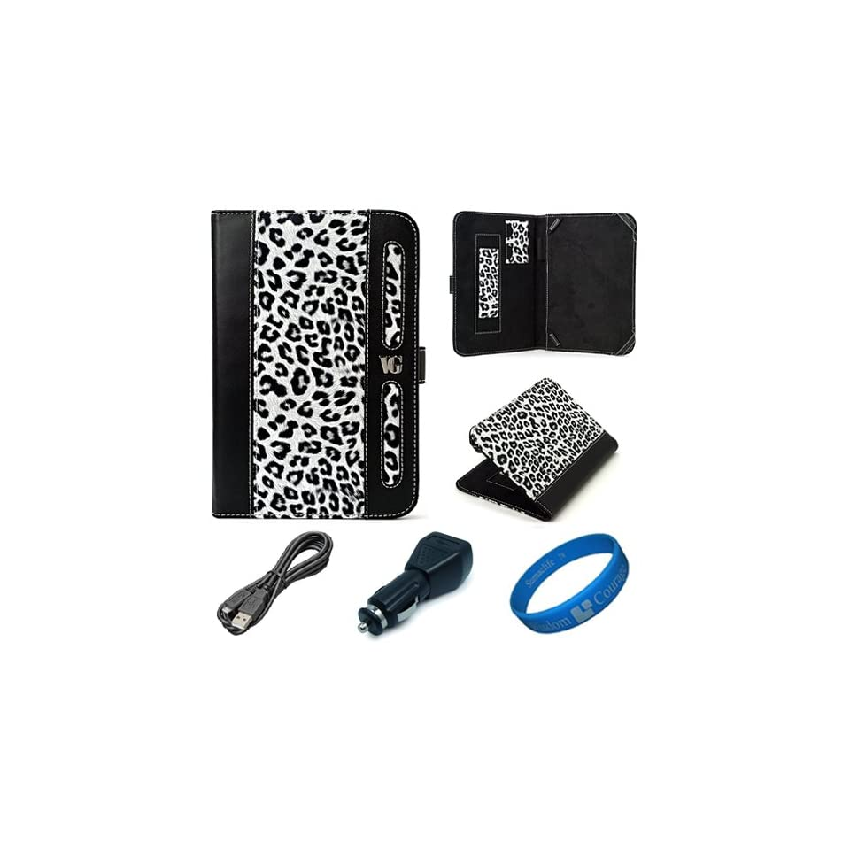 Dauphine Edition White Leopard Executive Leather Folio Case Cover for  Kindle Fire 7 inch Multi Touch Screen Tablet   8GB Android Wireless (Wifi) Tablet + Black USB Car Charger + Black Micro USB Sync Data Cable + SumacLife TM Wisdom Courage Wristband