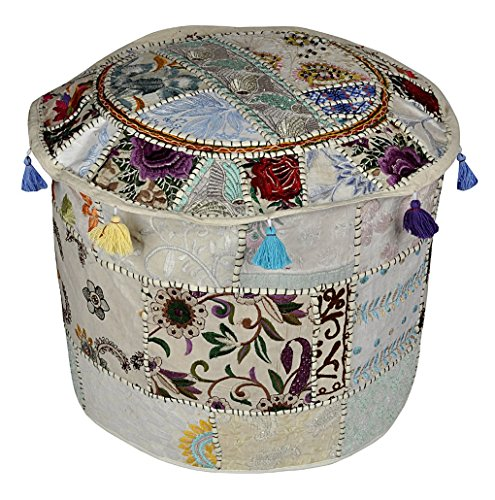 Decorative Embroidered Cotton Ottoman Floor Cushion Cover 18 X 18 X 14 Inches