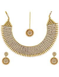 JFL- Royal And Rich Gold Designer Necklace Set Embellished With Austrian Diamonds For Women And Girls