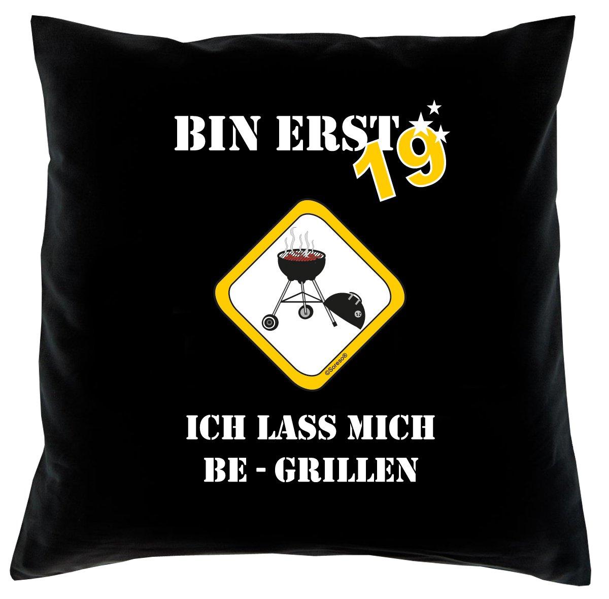 19. Geburtstag Kissen, Sitzkissen, Sofakissen, Dekokissen Bin erst 19! Farbe: Schwarz komplett mit Füllung 40x40cm Größe: 40x40cm