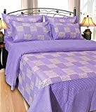 Shiv Fabs Check Floral Bedsheets with 2 Pillow Covers