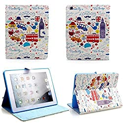 DN Premium Stylish Pattern Design Flip Folio PU Leather Smart Cover Case Pouch Stand With Auto Sleep/Wake up Feature for iPad Air - London
