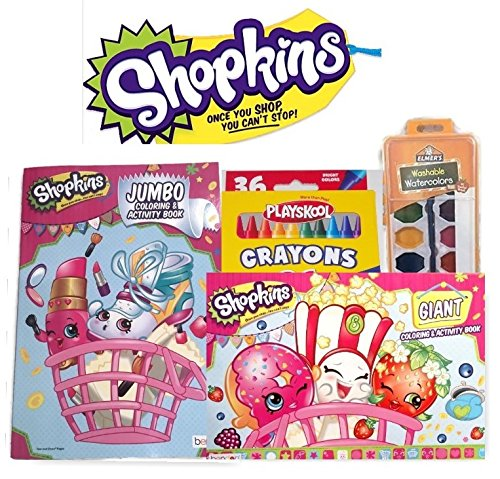 Shopkins Jumbo and Giant Coloring Book with Elmers Washable Watercolors and 36 Playskool Bright Color Crayons