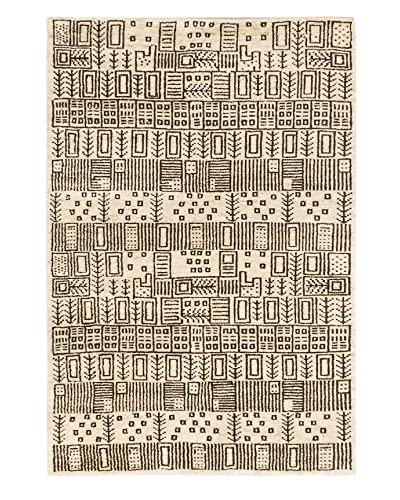 Hand-Knotted Royal Maroc Wool Rug, Cream, 4' x 5' 10