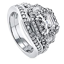 buy Berricle Sterling Silver 4.02 Ct.Tw Asscher Cubic Zirconia Cz Halo Engagement Wedding Ring Set