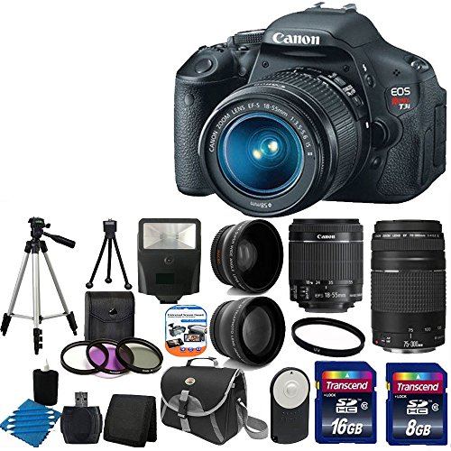 Canon Eos Rebel T3I 18 Mp Cmos Digital Slr Camera Usa Warranty With Canon Ef-S 18-55Mm F/3.5-5.6 Is [Image Stabilizer] Ii Zoom Lens & Ef 75-300Mm F/4-5.6 Iii Telephoto Zoom Lens + 58Mm 2X Professional Lens +High Definition 58Mm Wide Angle Lens + Auto Powe