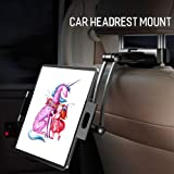 Tablet Holder for Car Headrest,Backseat Holder for Apple iPad Pro Mini Air, Samsung Galaxy Tab, and 5'' to 12.9'' Devices, 360° Rotation, Support Two Positions with Extendable Arm (black01) (Color: black01)