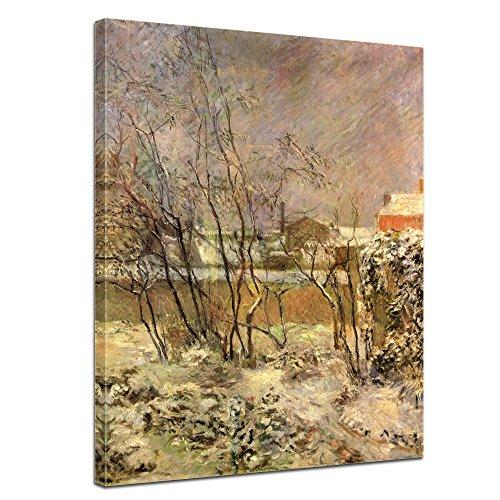 """Bilderdepot24 Leinwandbild Paul Gauguin - Alte Meister """"Schnee in der Rue Carcel"""" 50x70cm - fertig gerahmt, direkt vom Hersteller"""