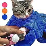 【iHappiness】 猫用 みのむし袋 おちつくネット ねこ用 ネット シャンプー 爪切り 耳掃除 が楽々 (ブルー)