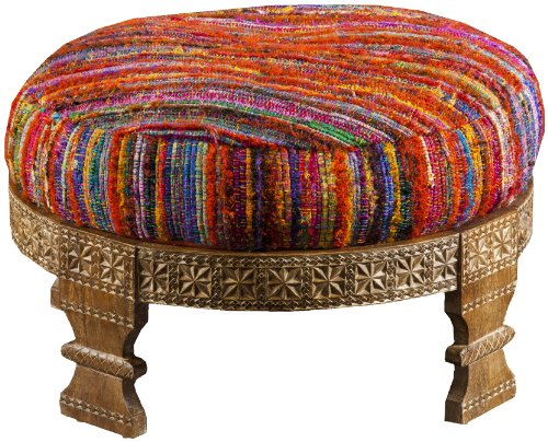 Surya FL1027-767628 Ottoman, 30.4 by 30.4 by 11.2-Inch, Magenta/Sunflower/Poppy/Cobalt/Teal/Lime - 1