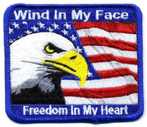 Embroidered Iron On Patch - Wind in my Face Freedom in my Heart USA Flag Eagle 3.5