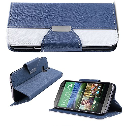 Mylife (Tm) Cobalt Blue {Hipster Design} Faux Leather (Card, Cash And Id Holder + Magnetic Closing) Slim Wallet For The All-New Htc One M8 Android Smartphone - Aka, 2Nd Gen Htc One (External Textured Synthetic Leather With Magnetic Clip + Internal Secure