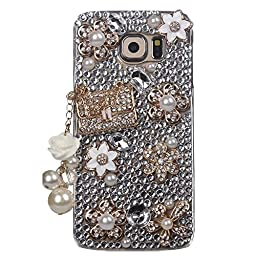 Samsung Galaxy S7 Case, STENES Luxurious Crystal 3D Handmade Sparkle Diamond Rhinestone Clear Cover with Retro Bowknot Anti Dust Plug - Bag Pearl Pendant Flowers / Gold