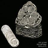Silver Plated Heart Shaped Arras Chest with Heart Crystals - COFJC010 - Arras de Boda - Arras de Matrimonio - Unity Coin Holder - Wedding Coin Box - Cofre de Boda