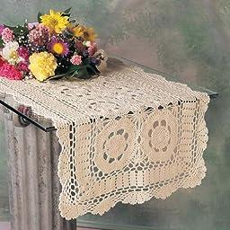 Handmade Crochet Lace Runner. 100% Cotton Crochet. Ecru, 16 Inch X54 Inch Oblong. One piece .