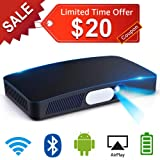 Mini Projector Portable LED Projector DLP HD Support 1080P Full HD 200in Multimedia Home Theater with Built-in 8000mAh Battery Android OS HDMI WiFi Bluetooth SD Card USB Auto Keystone Digital Focus (Color: D2-Black)