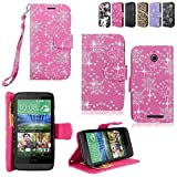 HTC Desire 510 Case - Cellularvilla Pu Leather Wallet Card Flip Open Pocket Case Cover Pouch for HTC Desire 510 (Pink glitter)