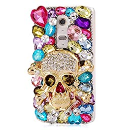 LG G4 Case, Sense-TE Luxurious Crystal 3D Handmade Sparkle Glitter Diamond Rhinestone Ultra-Thin Clear Cover with Retro Bowknot Anti Dust Plug - Skull Heart Rhinestone / Colorful