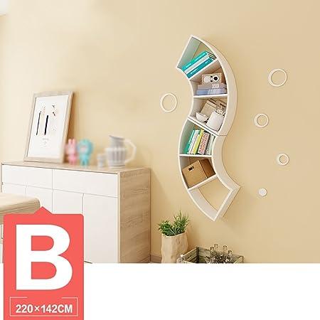 Book Jia librerie Living Room Creative Wall Fan Parete Scaffale Scaffale / Camera da letto Scaffale Scaffale Scaffale Libreria scaffale librerie moderne ( Colore : B-220*142cm )