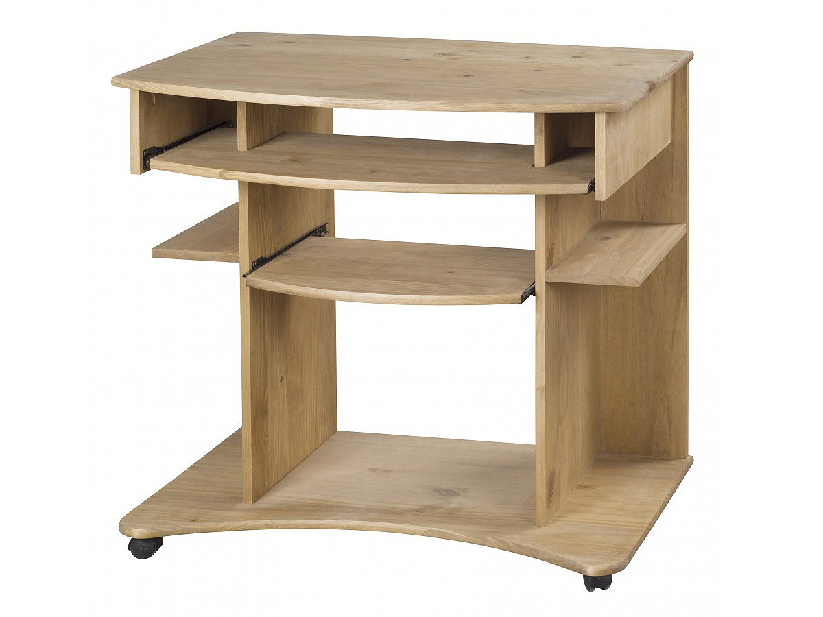 Solid Pine Computer Desk With Wheels Corona Antique Pine Waxed *Brand New*       reviews and more news