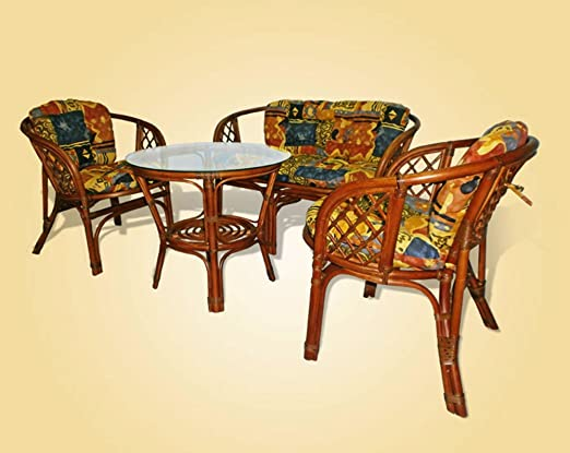 Bahama Rattan Wicker Set of 2 Chairs 1 Loveseat and Round Coffee Table W/glass Colonial (Light Brown) Color