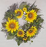 24 Inch Sunflower and Greenery Wreath on Natural Twig Base