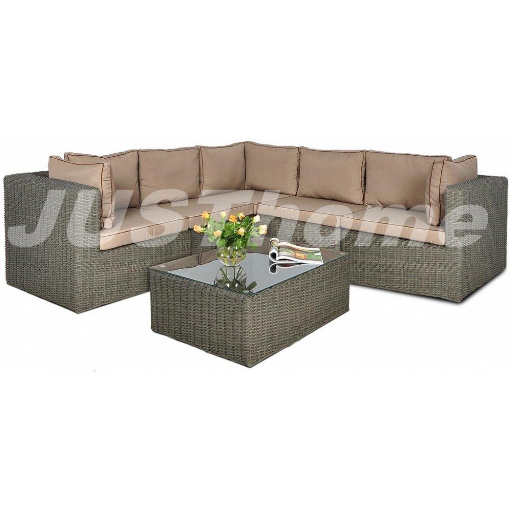 JUSThome Gartenmöbel Sitzgruppe Gartengarnitur Rodos VI 1x Ecksofa + 1x Tisch Grau jetzt kaufen