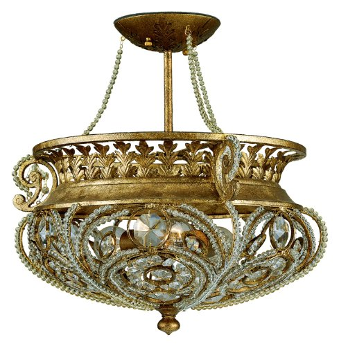 Quoizel LS1814GF 3 Light 18-Inch Semi Flush Mount, Gold Finch