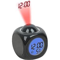 Hippih LCD Talking Projection Multifunction Digital Alarm Clock - Black