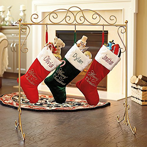 a rack for hanging stockings when you don't have a place to hang them above a fireplace or from a mantel