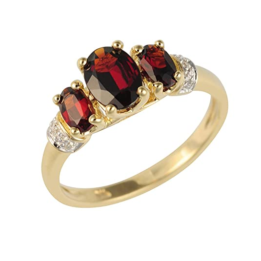 Ivy Gems 9ct Yellow Gold Three Stone Garnet and Diamond Ring
