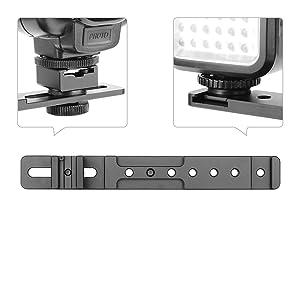 "ChromLives 8"" Cold Shoe Extension Bar Flash Straight Bracket Camera Dual Mount Flash Bracket fits Nikon Canon Sony Olympus DSLR Camera Camcorder DV (Color: Cold Shoe Mount)"