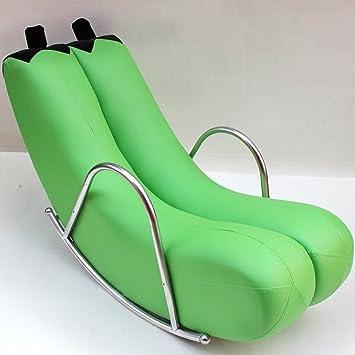 HWF Mecedoras Silla mecedora Sofá reclinable Silla Balancín Personalidad individual Moda Balcón Cuero ( Color : Verde , Material : Flocking cloth )