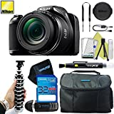 Nikon COOLPIX L340 Digital Camera (Black) + Pixi-Basic 32GB Accessory Bundle