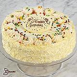 Vanilla Bean Birthday Cake with Sprinkles and Chocolate Happy Birthday Plaque