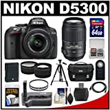 Nikon D5300 Digital SLR Camera & 18-55mm G VR DX II Lens (Black) with 55-300mm VR Lens + 64GB Card + Battery + Case + Grip + Tele Wide Lens Kit