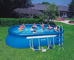 Intex aufstellpool oval frame pool set t v gs blau 610 for Aufstellpool angebote