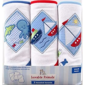 Luvable Friends 3-Pack Patches Hooded Towels, Blue