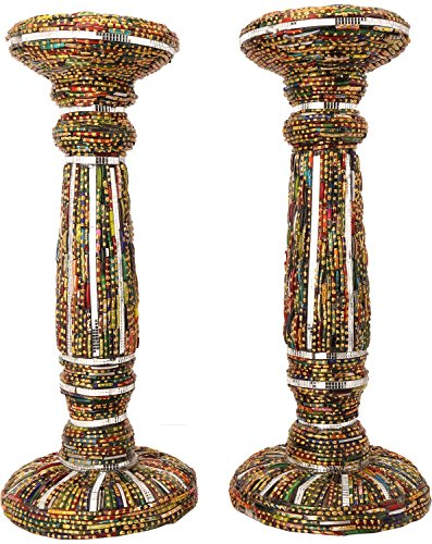 Ved Indian Heritage Fiber Candle Stand Set Of 2 (40 Cm X 20 Cm X 04 Cm, Maroon & Green)