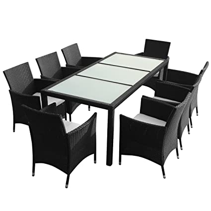 vidaXL Black Poly Rattan Garden Furniture Set 1 Table 8 Chairs