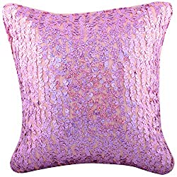 Aaiye Ghar Sajaiye Raw Silk Cushion Cover with Sequence Pattern- Set of 5, Pink_(12 x 12 Inch)