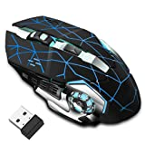 Rechargeable Wireless Gaming Mouse, Bluetooth USB Computer Mouse, 2.4G LED Color Changing Optical Silent, Auto Sleeping, Ergonomics Grip, 4 Adjustable DPI, Compatible with Laptop/PC/Notebook (Black (Color: black)