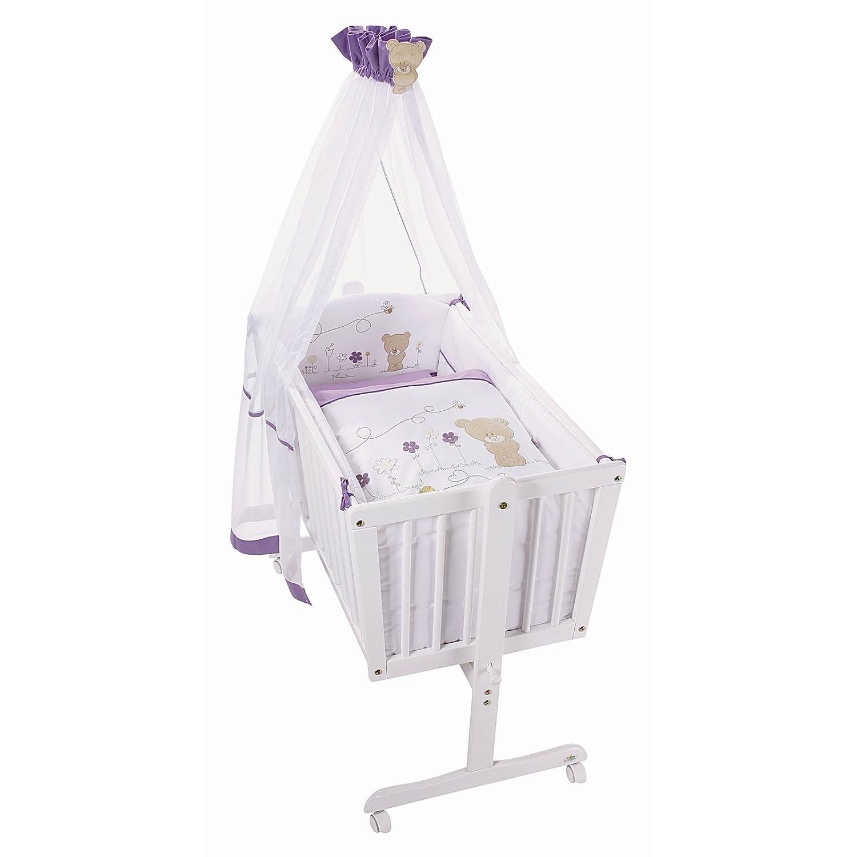 Easy Baby Wiege Komplettset natur, Honey bear lila 181-40 günstig