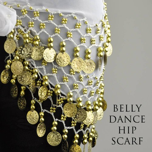 ON SALE!! HOTER® Chiffon Dangling Gold Coins Belly Dance Hip Scarf, Vogue Style